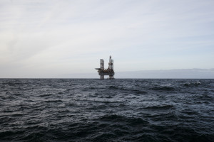 Oil platform on the North Sea while cloudy day